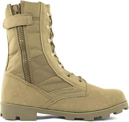 Bufferzone Men's Tan Military Combat Boot