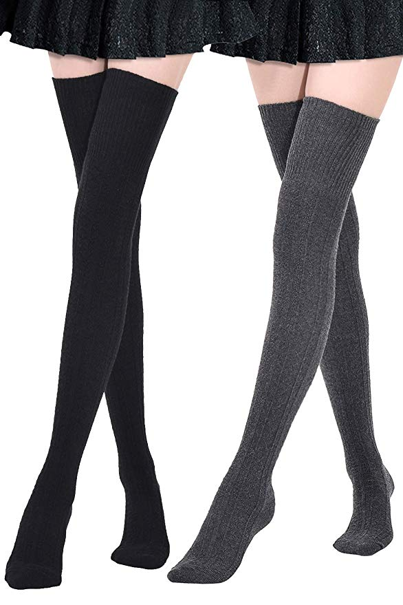Kayhoma Extra-Long Cotton Thigh High Stockings