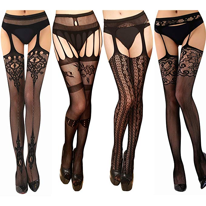 TGD Women's Fishnet Thigh High Pantyhose Stockings