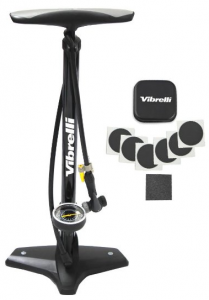 High Performance Bike Floor Pump with BONUS Glueless Puncture Kit. Special Rapid T-Valve Switches from Presta to Schrader Bicycle Pump Valves with a Simple Flick. 15 Year Warranty