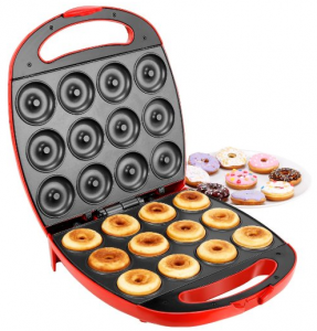 VonShef Deluxe 12 Hole Electric Doughnut Maker Donut Snack Machine, 1400W, Red, 2 Year Free Warranty