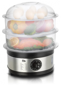 Elite EST-2301 Stainless Steel Elite Platinum 3-Tier Food Steamer, 8.5 quart, Stainless Steel