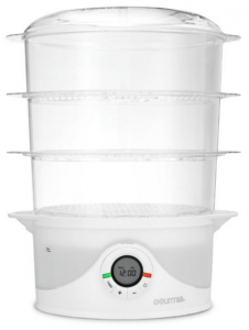 Gourmia GFS-300 SteamTower300 Electronic Digital 3 Tier Vegetable and Food Steamer, 9.5 quart, Clear