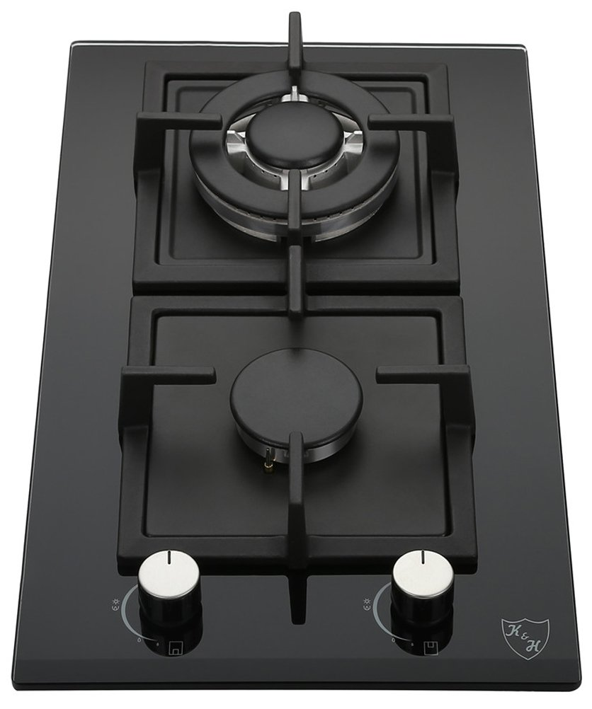 K&H 2 Burner Gas Glass Cast Iron Cooktop