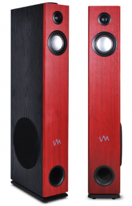 VM Audio EXAT32 Cherry Black Floorstanding Powered Bluetooth Tower Speakers Pair