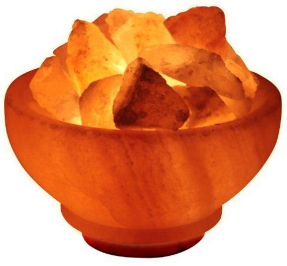 Crystal Allies Gallery CA SLSFB-S Natural Himalayan Salt Fire Bowl Lamp with Rough Salt Chunks & Dimmable Switch, 6%22