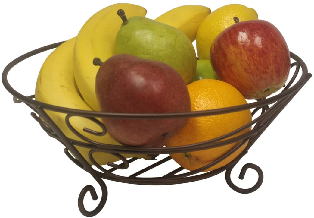 Home Basics Bronze Coated Scroll Collection Fruit basket