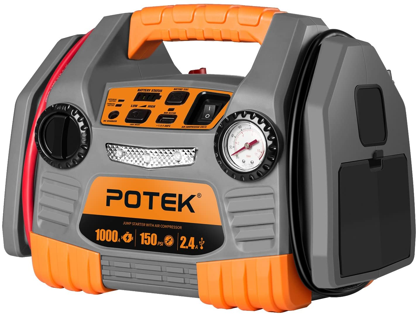 POTEK Tire Inflator 150 PS1 Car Jump Starter