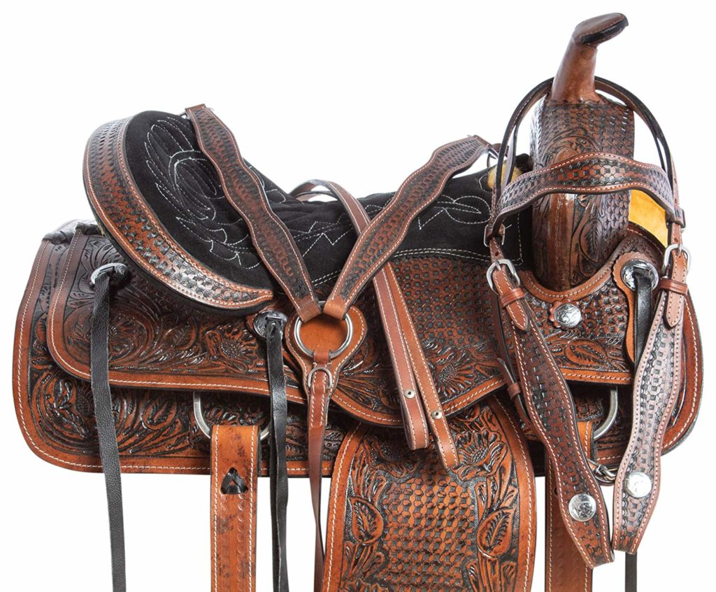 AceRugs All Natural Cowhide Leather Horse Saddle